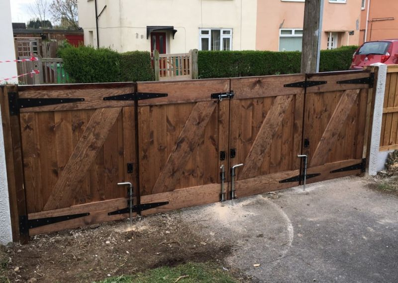 Bi-folding solid wooden gates: Swipe To View More Images
