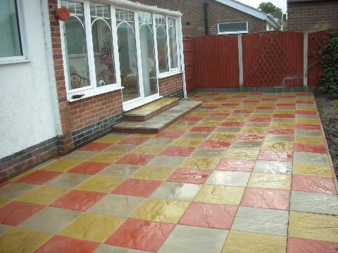 Multi coloured slabbed patio: Swipe To View More Images