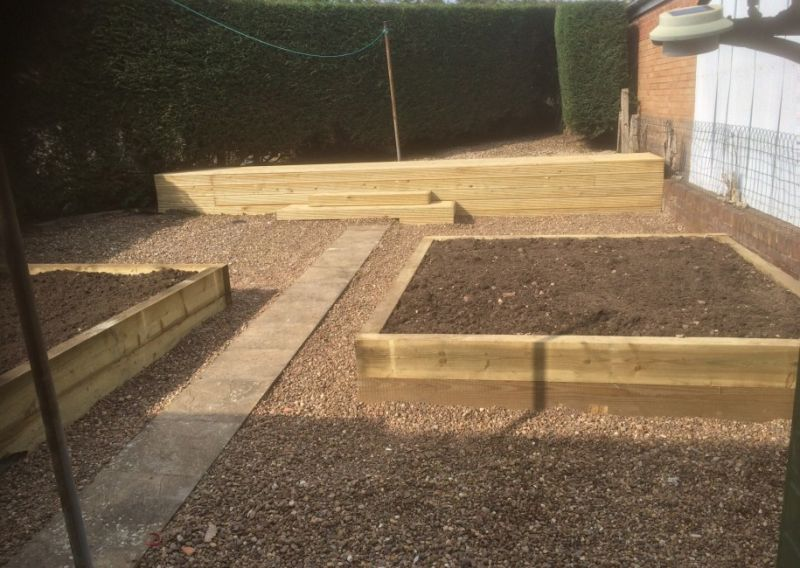 Raised flower beds/ vegetable plot made from sleepers: Swipe To View More Images