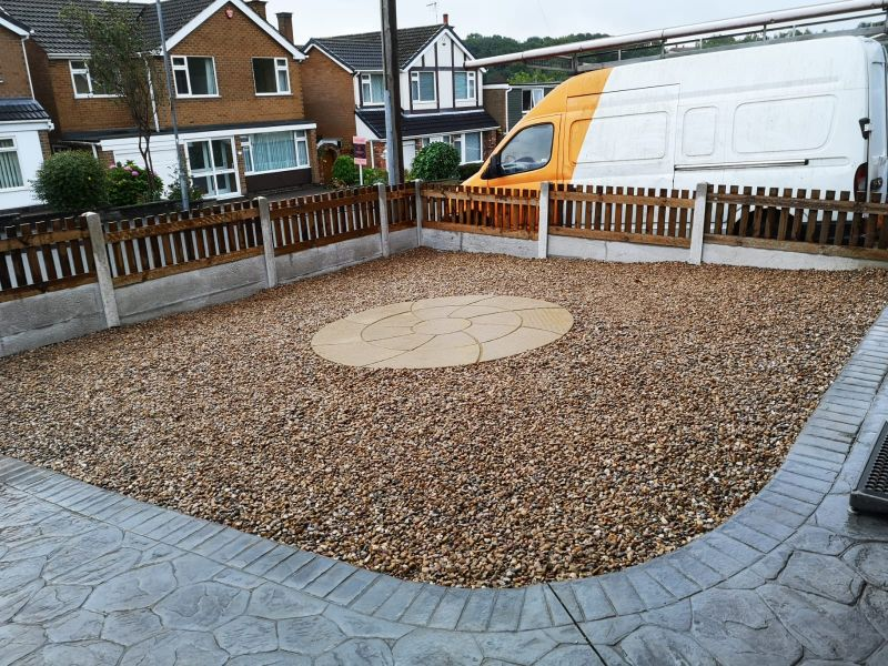 Gravel with stone circle. Low maintenance