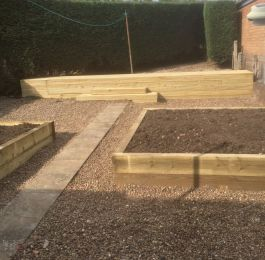 Raised flower beds/ vegetable plot made from sleepers: Click Here To View Larger Image